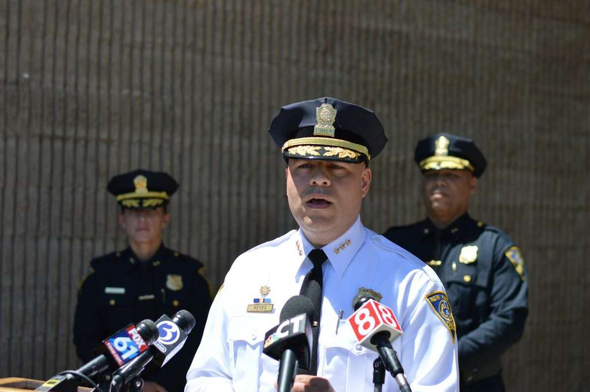 New Haven Police Chief Otoniel Reyes speaks at a news conference.