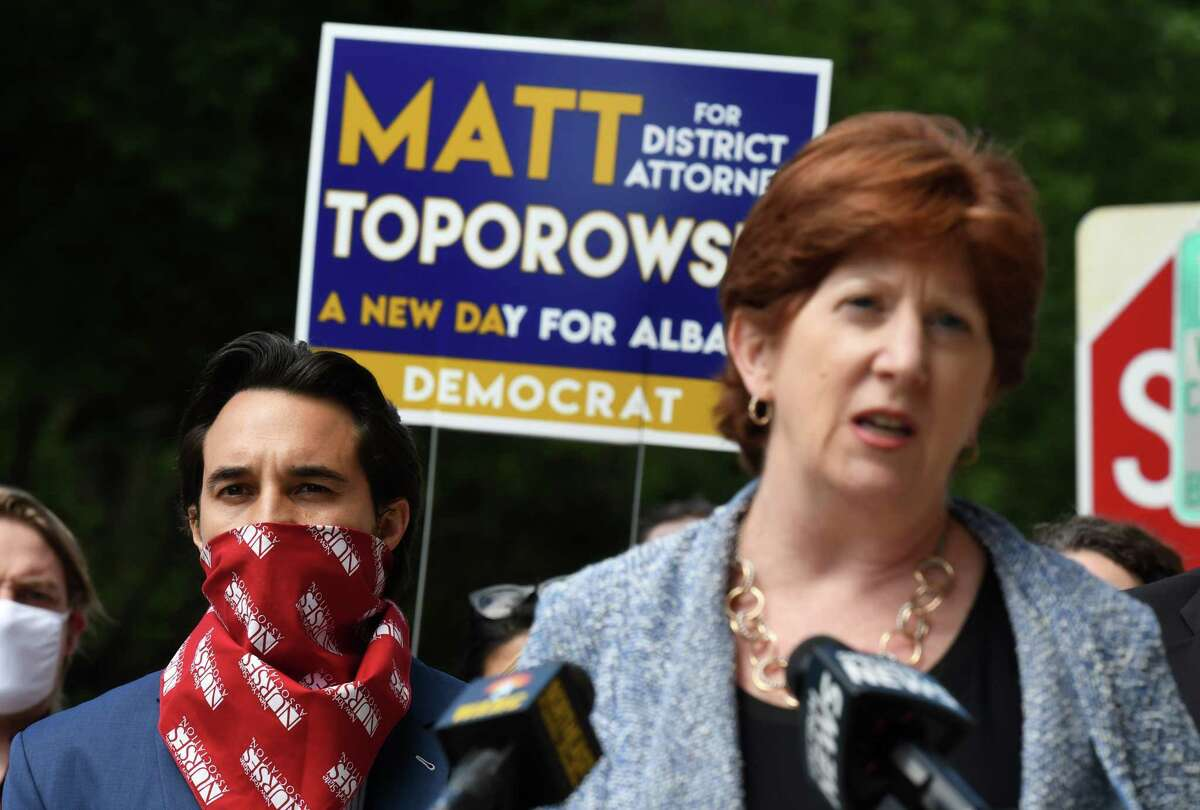 Albany Mayor Kathy Sheehan endorses Matt Toporowski, left, for Albany County District Attorney on Friday, June 12, 2020, at City Hall in Albany, N.Y. He is challenging current District Attorney David Soares for the Democratic nomination. (Will Waldron/Times Union)