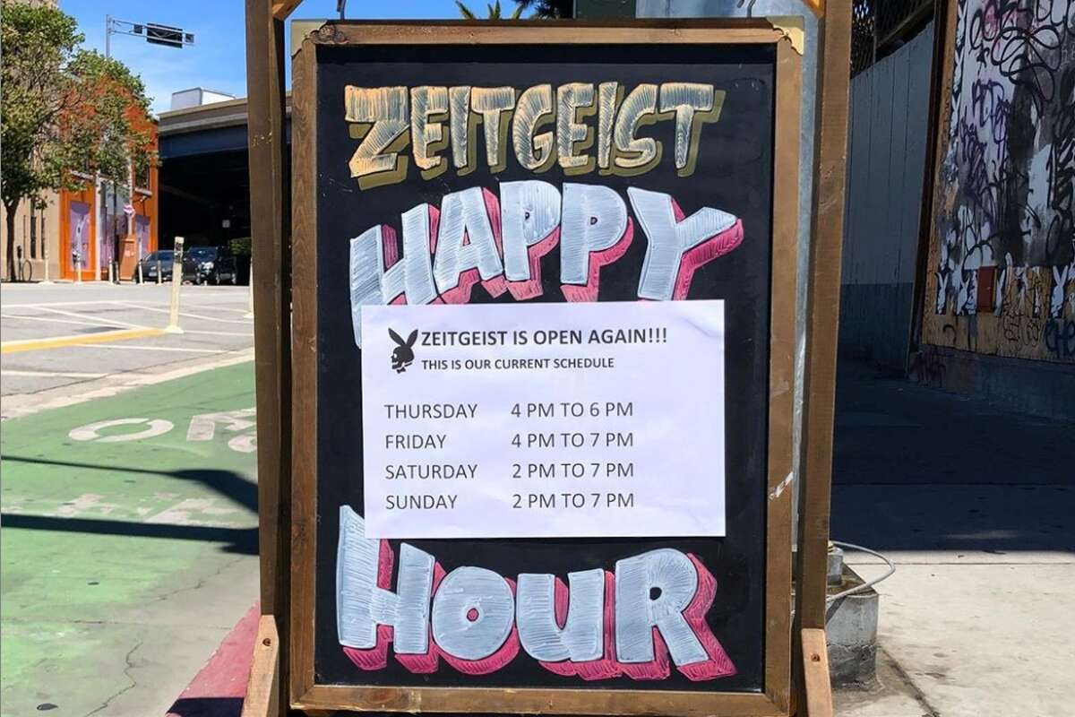 San Francisco public health officials modified the city's shelter-in-place order to allow restaurants to reopen Friday. Bars with a food license can also open if it offers food and meet safety guidance. This weekend, Zeitgeist will serve grilled patty melts, cheeseburgers and grilled cheese sandwiches from its outdoor grill. Drink options include margaritas, bloody marys, lots of bottled beer and bottled seltzer options and five draft beers. Patrons will order food and drinks and then enjoy their meals at assigned seats. The establishment is posting hours and menu options on its Instagram page and will be expanding its menu and hours in coming weeks.