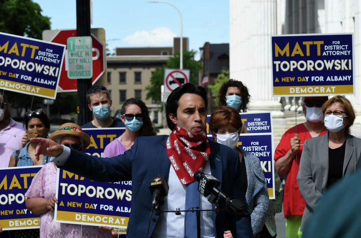 Democratic challenger for Albany County District Attorney, Matt Toporowski speaks during an event where he received key endorsements by Albany Mayor Kathy Sheehan and Albany Common Council President Carolyn McLaughlin on Friday, June 12, 2020, at City Hall in Albany, N.Y. Toporowski is challenging current District Attorney David Soares for the Democratic nomination. (Will Waldron/Times Union)