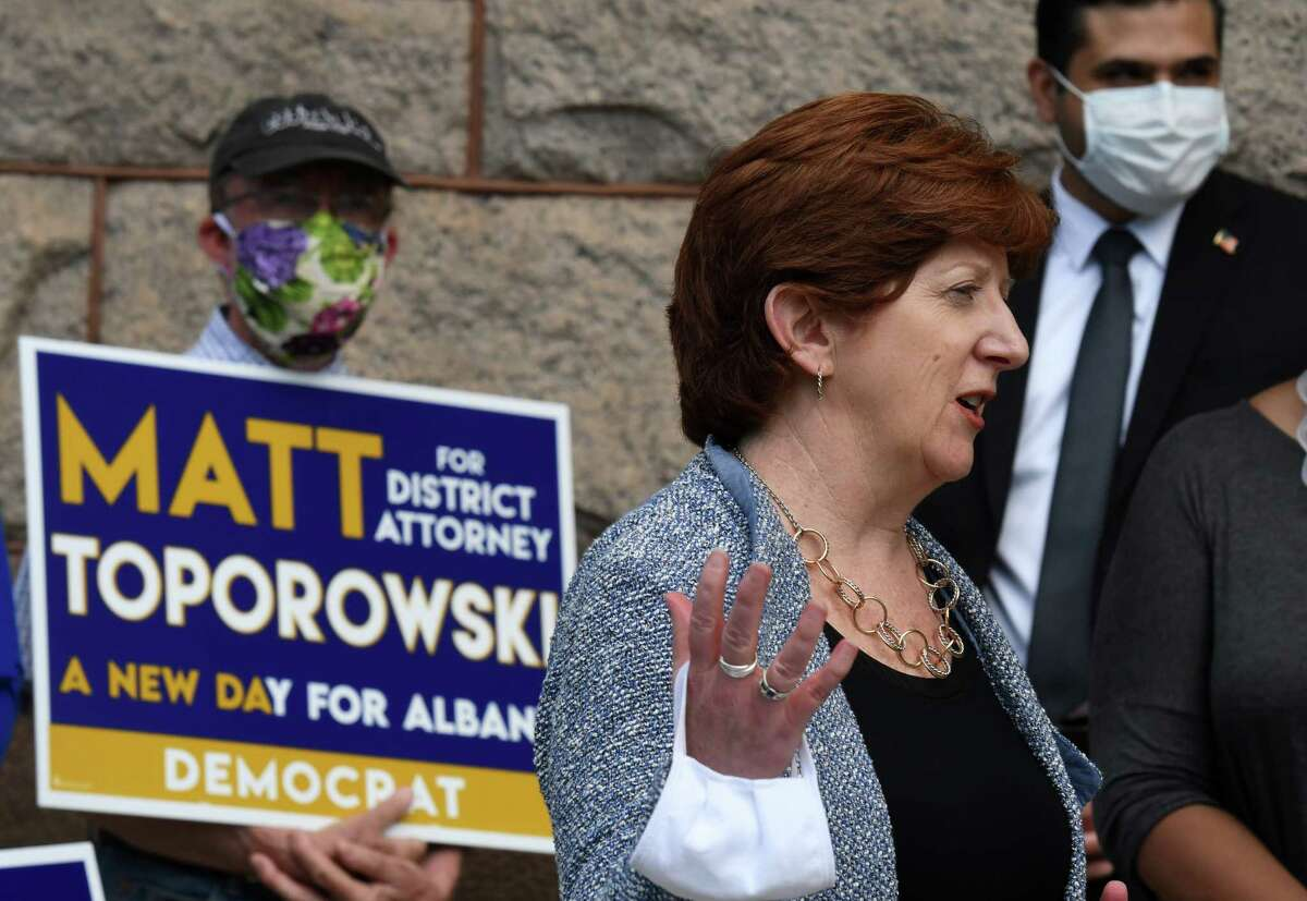 Albany Mayor Kathy Sheehan endorses Matt Toporowski for Albany County District Attorney on Friday, June 12, 2020, at City Hall in Albany, N.Y. He is challenging current District Attorney David Soares for the Democratic nomination. (Will Waldron/Times Union)