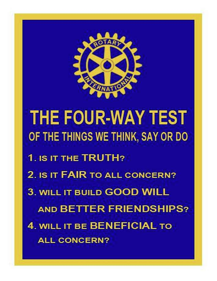 "Rotarians close their meetings by saying the Rotary Four-Way Test which is printed on this card. The Conroe club adds a fifth phrase ""Is it fun?"" Photo: Courtesy Photo"