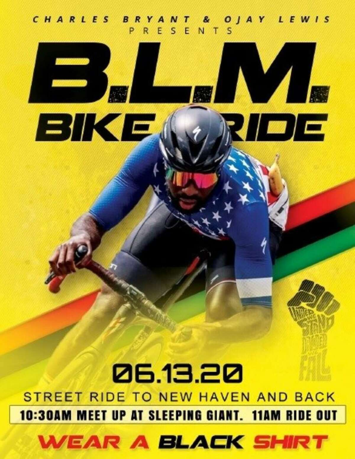 A ride in support of Black Lives Matter and promoting health in the black community will start at 11 a.m. Saturday at Sleeping Giant State Park, organizers said.