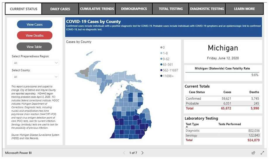 """The State of Michigan has a data dashboard for coronavirus on its website, michigan.gov/coronavirus (then click on """"see cumulative data""""). The dashboard breaks down information, county by county. (Screenshot/michigan.gov/coronavirus)"""