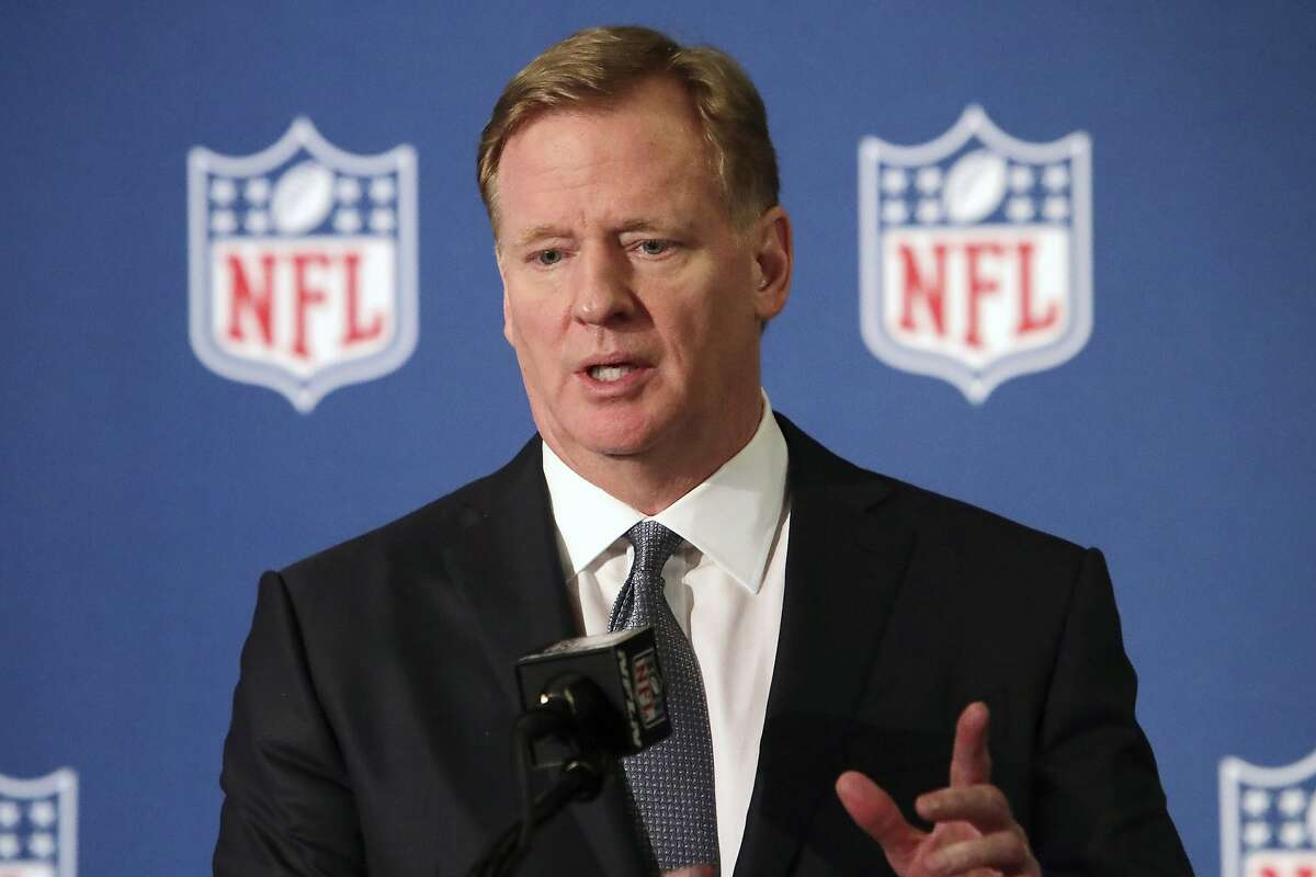 """FILE - In this Dec. 12, 2018, file photo, NFL commissioner Roger Goodell speaks during a news conference in Irving, Texas. The NFL, which has raised $44 million in donations through its Inspire Change program, announced the additional $206 million commitment Thursday, June 11, 2020, targeting what it calls """"systemic racism"""" and supporting """"the battle against the ongoing and historic injustices faced by African Americans."""" (AP Photo/LM Otero, File)"""