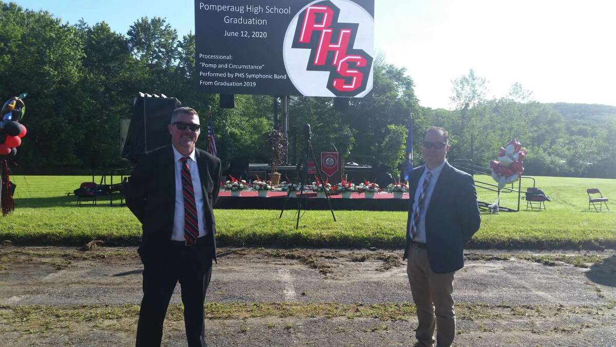 Pomperaug High Principal Dr. Paul Jones (left) and Region 15 Superintendent Joshua Smith at Pomperaug High graduation on Friday. Board of Education Chairperson Marion Manzo gave the BOE address followed by the superintendent's address from Joshua Smith.