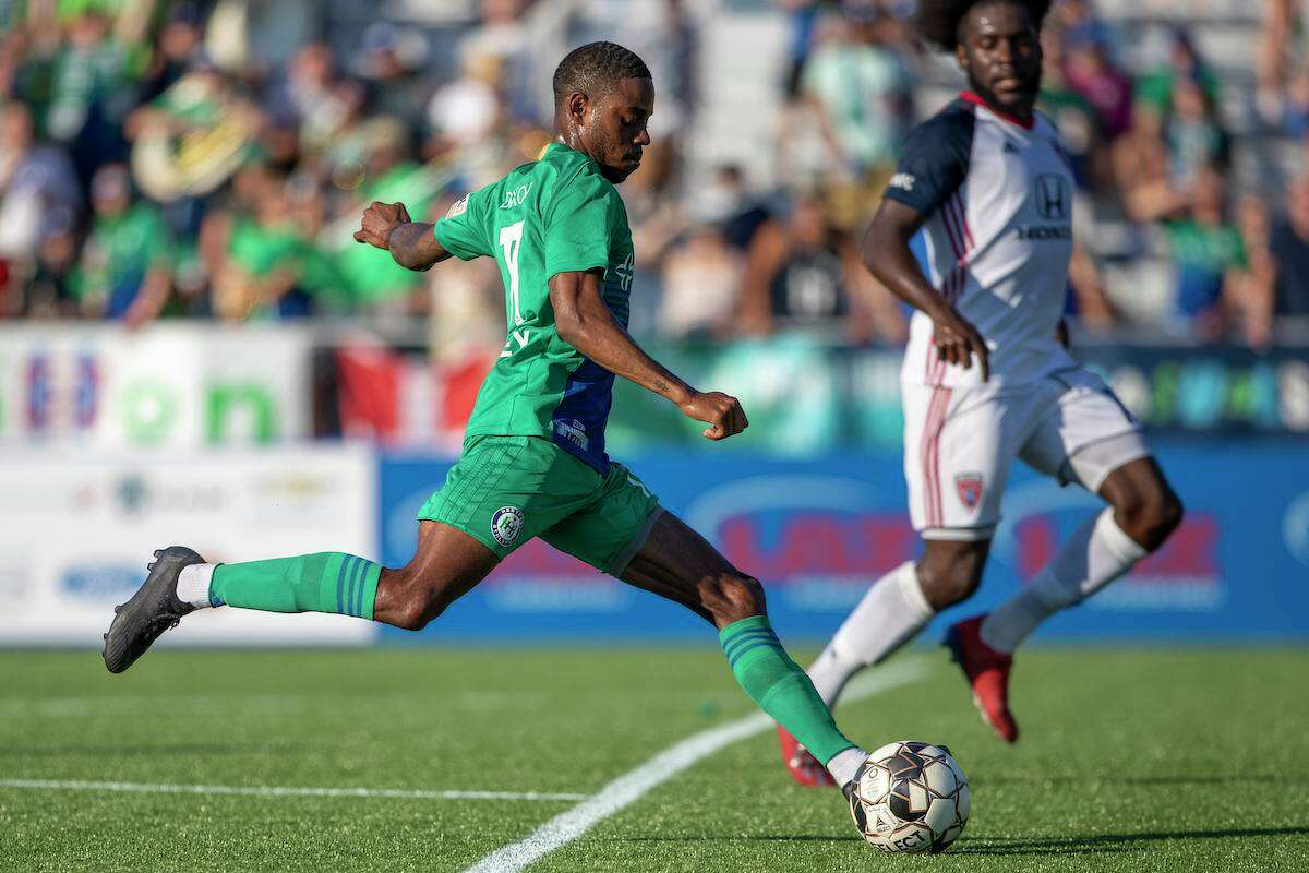Hartford Athletic forward Alex Dixon attempts a shot from just inside the box in the Dillon Stadium opener against Indy Eleven.