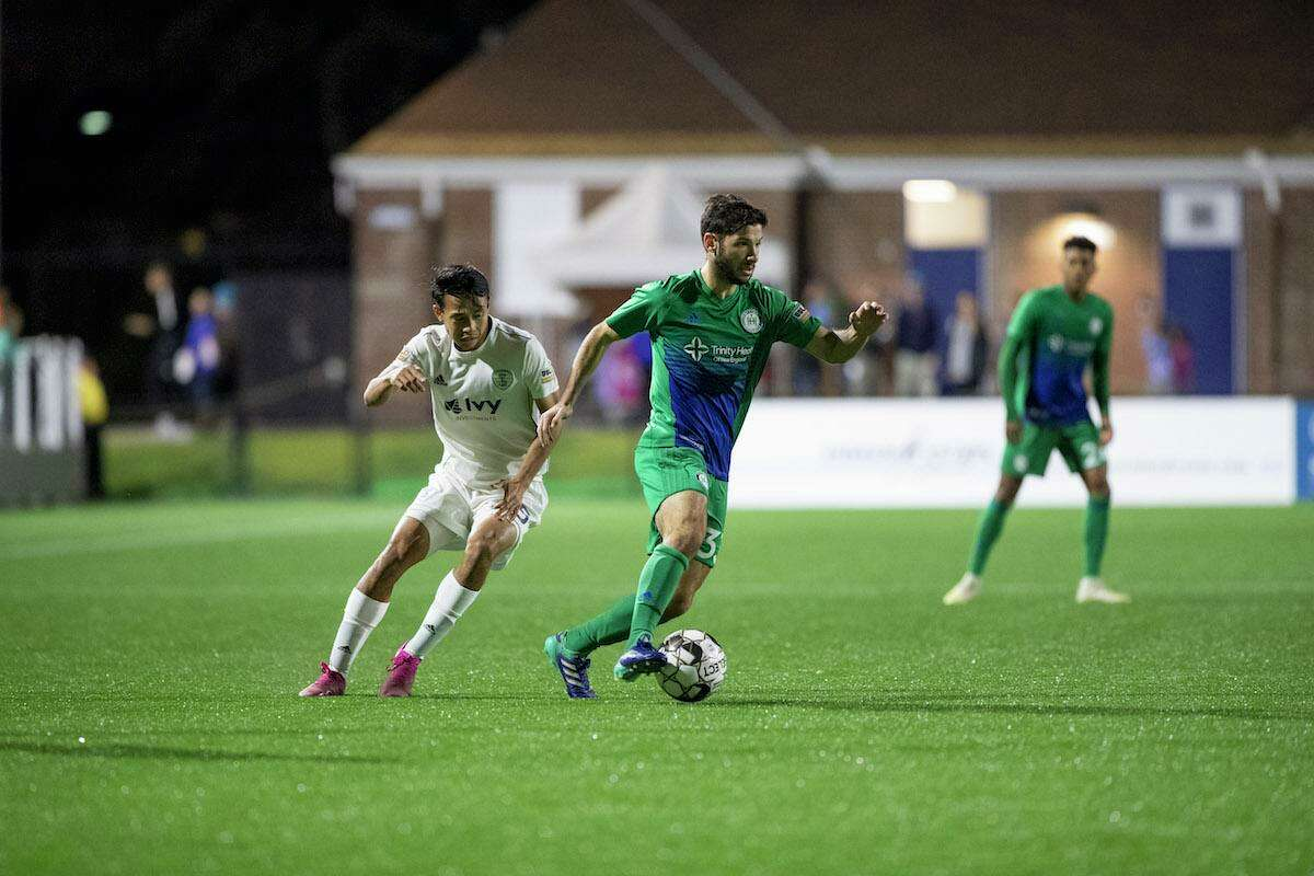 Hartford Athletic midfielder Harry Swartz finds some open space against Louisville City FC in the first night game played at Dillon Stadium in 2019.