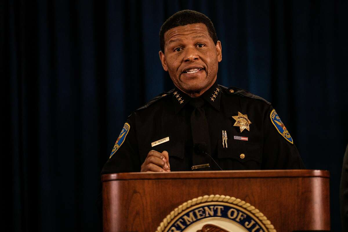 San Francisco Police chief William Scott speaks at a press conference in San Francisco, Calif. on Thursday, January 9, 2020.