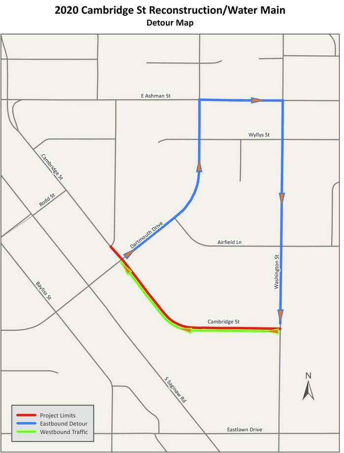 A map provided by the City of Midland shows a detour for the Cambridge Street reconstruction. (Map provided/City of Midland)