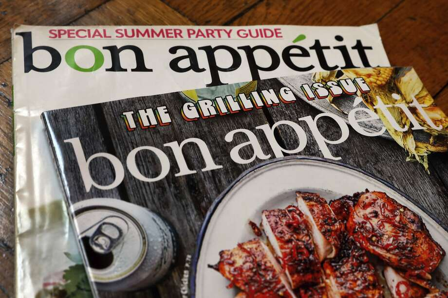 """Two covers of Bon Appetit magazine are shown in this photo, in New York, Wednesday, June 10, 2020. The staff at Bon Appetit, whose top editor resigned after a revolt by the journalists there after an offensive photo of him circulated online amid longstanding issues over treatment of people of color, said in a statement Wednesday, June 10,  that """"our mastheads have been far too white for far too long"""" and the magazine was making changes. (AP Photo/Richard Drew) Photo: Richard Drew, Associated Press"""