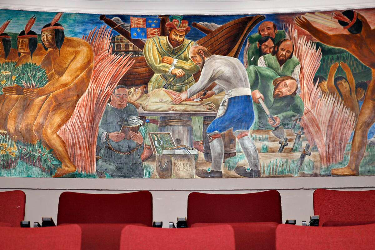 One of the beginning murals in the series of medical history in California painted by artist Bernard Zakheim in Toland Hall at UCSF Parnassus campus in San Francisco, California on Friday, February 27, 2015.