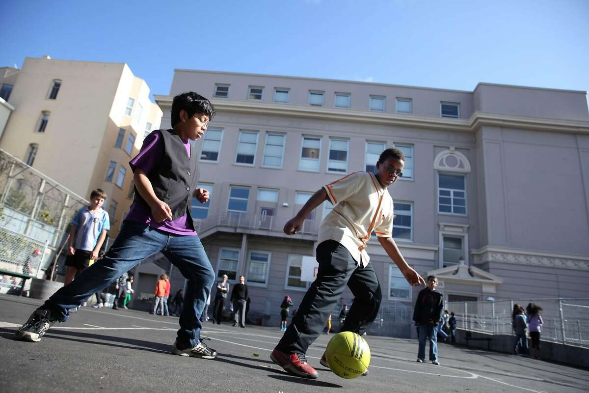 Andy Hernandez (l to r), 11 and Selascie Smith, 12, play with other sixth graders during recess at Gateway Middle School on Thursday, February 7, 2013 in San Francisco, Calif.