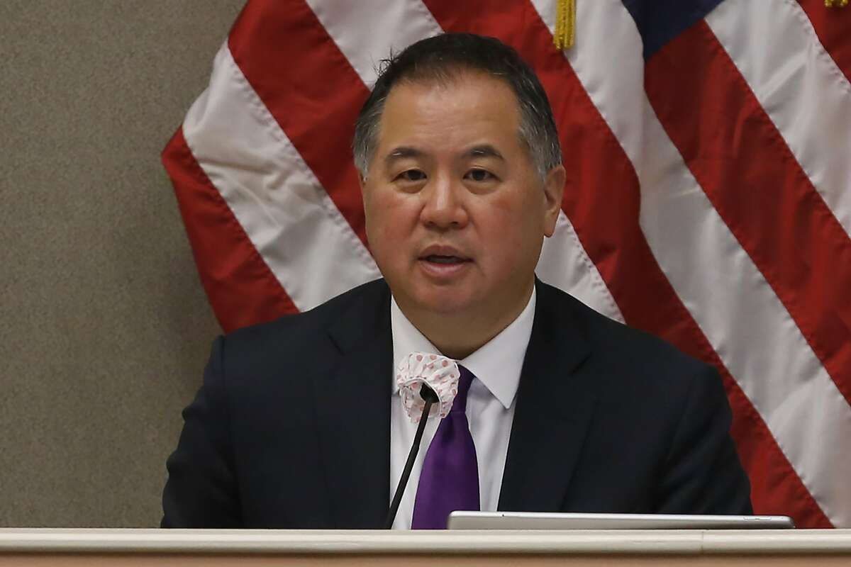 """FILE - In this Monday April 20, 2020 file photo is Assemblyman Phil Ting, D-San Francisco, chairman of the Assembly Budget Committee at a hearing in Sacramento, Calif. Ting said Friday, May 22, 2020 he was concerned with some of California Gov. Gavin Newsom's spending proposals, saying they were a """"huge overreach"""" by not including more oversight from the state legislature. (AP Photo/Rich Pedroncelli, File )"""