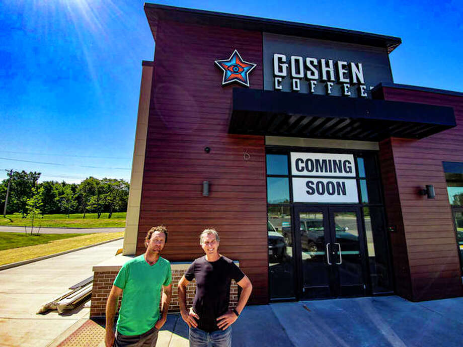 Co-owners, Mike Bergen, left, and Jay Beard stand in front of Goshen Coffee's flagship store. Photo: Tyler Pletsch   The Intelligencer