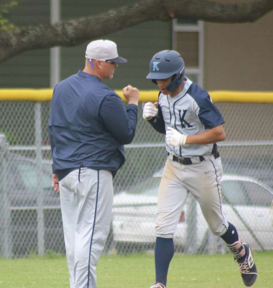 Kingwood High School's Masyn Winn receives congratulations from head coach Kelly Mead after Winn belted a home run at South Houston High School during the 2019 District 22-6A campaign. Winn was the 54th overall pick in this week's MLB Draft, getting selected by St. Louis. Photo: Robert Avery