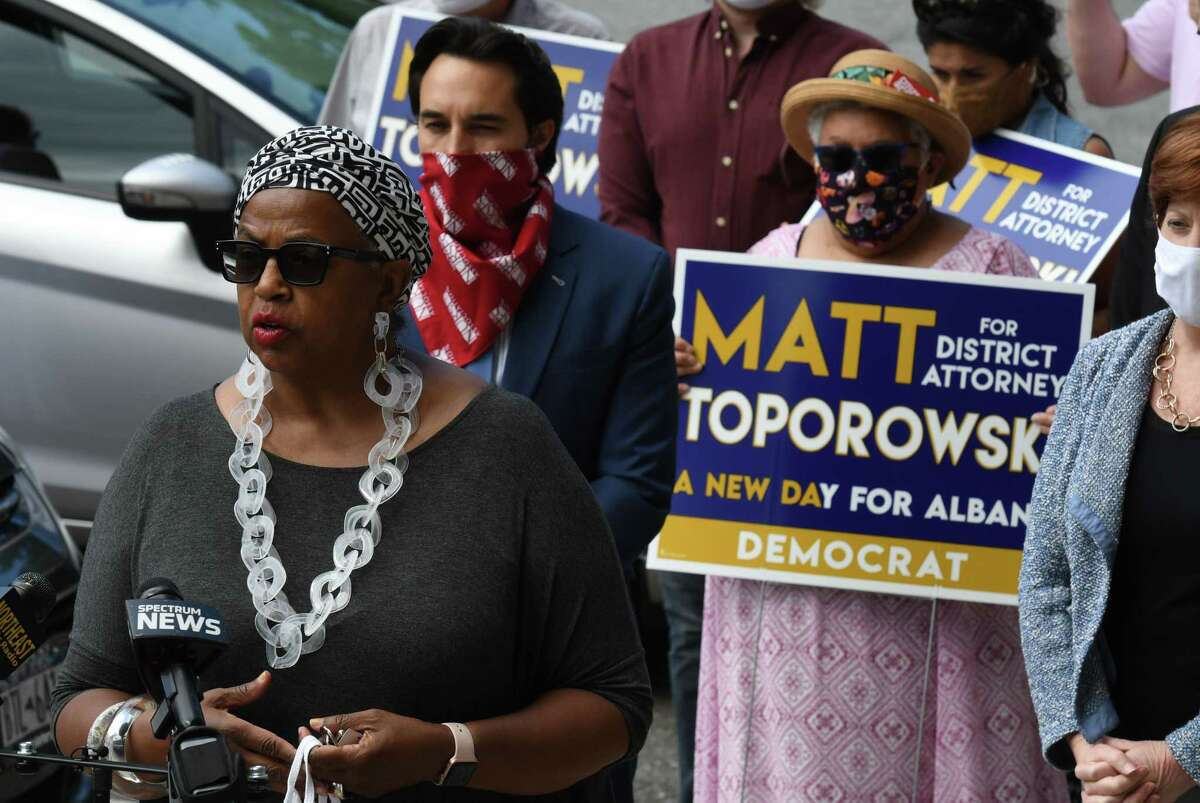 Albany County Legislator Carolyn McLaughlin, left, endorses Matt Toporowski, second from left, for Albany County District Attorney on Friday, June 12, 2020, at City Hall in Albany, N.Y. Toporowski is challenging current District Attorney David Soares for the Democratic nomination. (Will Waldron/Times Union)