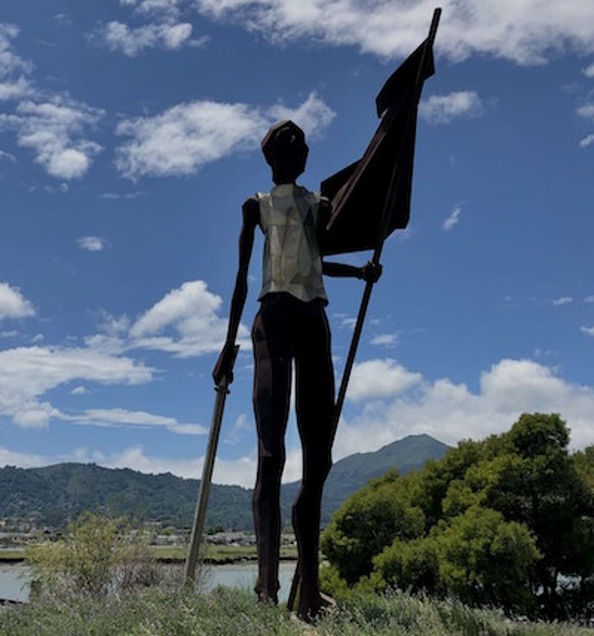 Sculpture of Sir Francis Drake landing in what is now Marin County by Dennis Patton. It stands 30 feet high next to the Larkspur Ferry Terminal.