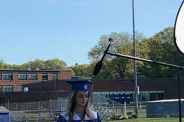 """Valedictorian Chloe Hummel at the filming of West Haven High School's 2020 commencement. Hummel said she takes great pride in being a """"Westie."""""""