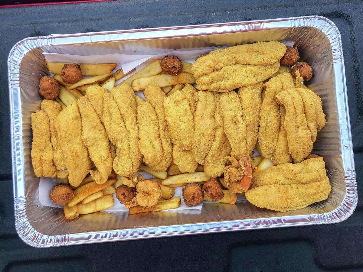 Fried catfish tray at Ray's BBQ Shack