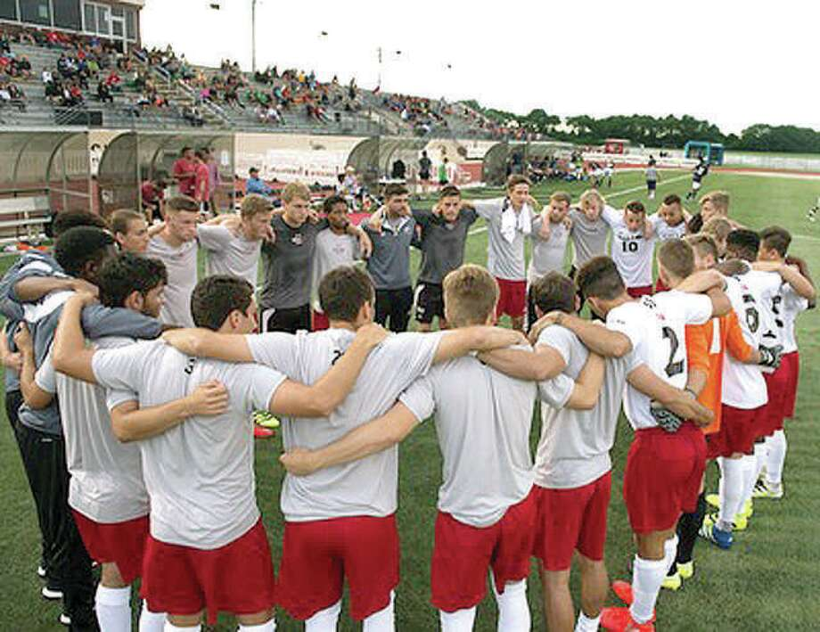 The SIUE Cougars huddle before a 2017 Missouri Valley Conference game at Korte Stadium. SIUE men's soccer will leave the MidAmerican Conference and rejoin the MVC in 2021. Photo: Telegraph File Photo