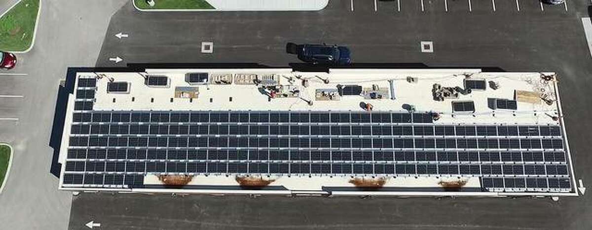 Rooftop view of Trace on the Parkway's newly installed solar array system.
