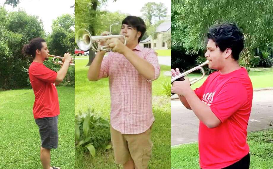 Three Crosby High School band students participated in Taps Across America by playing the mournful tune on Memorial Day. The trio joined thousands of other trumpet players who walked out of their homes at 3 p.m. and played the 24-note Taps in memory of those who died for our country. Photo: Submitted