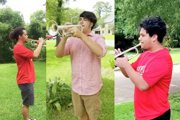 Three Crosby High School band students participated in Taps Across America by playing the mournful tune on Memorial Day. The trio joined thousands of other trumpet players who walked out of their homes at 3 p.m. and played the 24-note Taps in memory of those who died for our country.