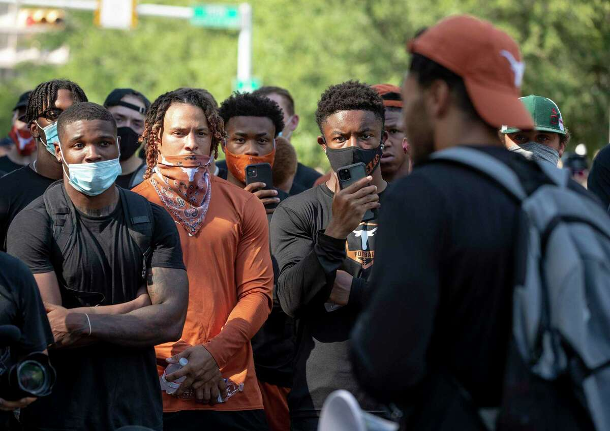 Texas football players started their march to social change on June 4 when they protested the killing of George Floyd at the state capitol.