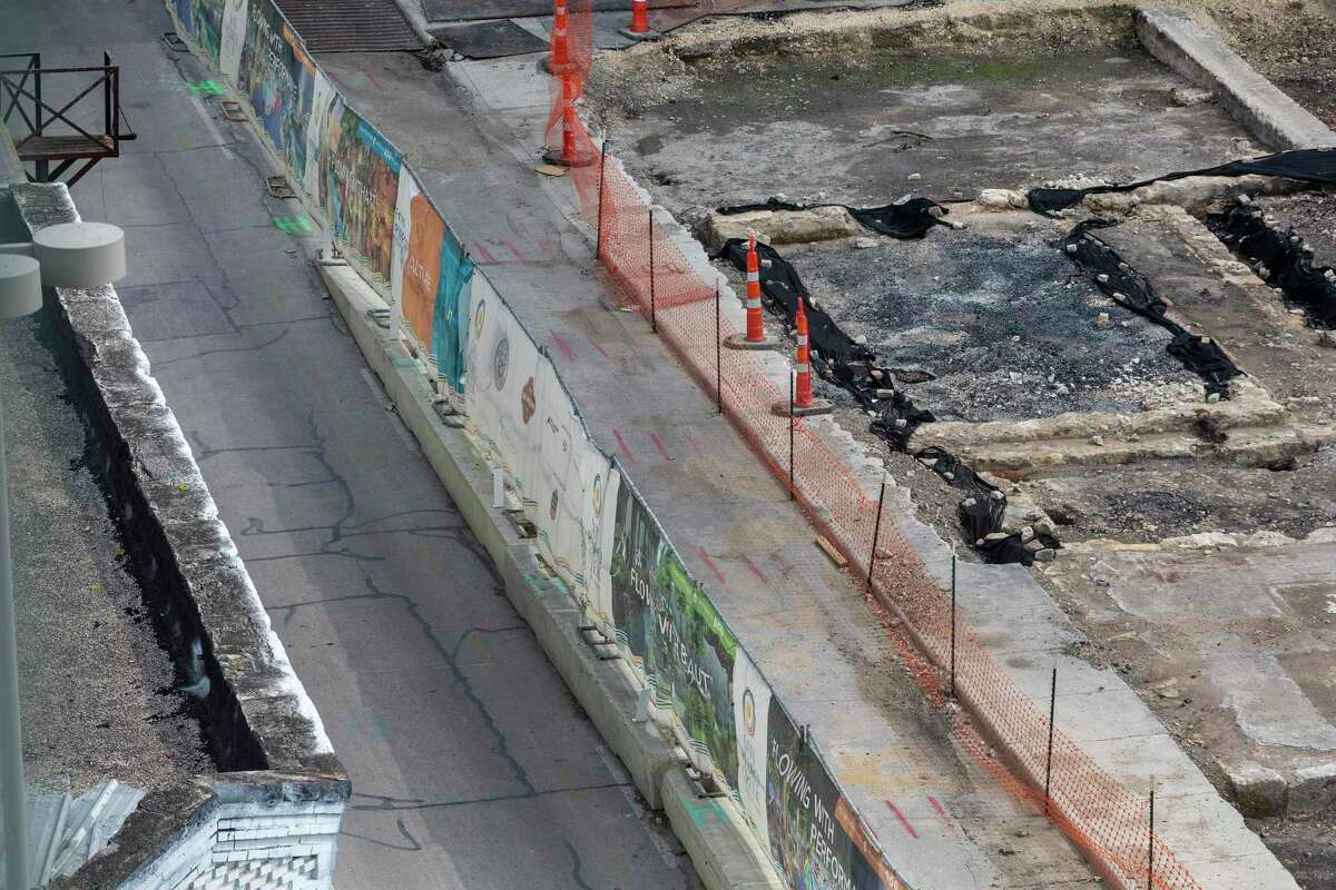 The recently discovered historic foundation of the original circa 1868 chapel of St. James African Methodist Episcopal Church, right, now the second-oldest black church in San Antonio, is seen Thursday, May 21, 2020 near the intersection of West Houston and Cameron Streets in downtown San Antonio. The foundation was discovered while crews were excavating for the second segment of Phase 1 of the San Pedro Creek Cultural Park.