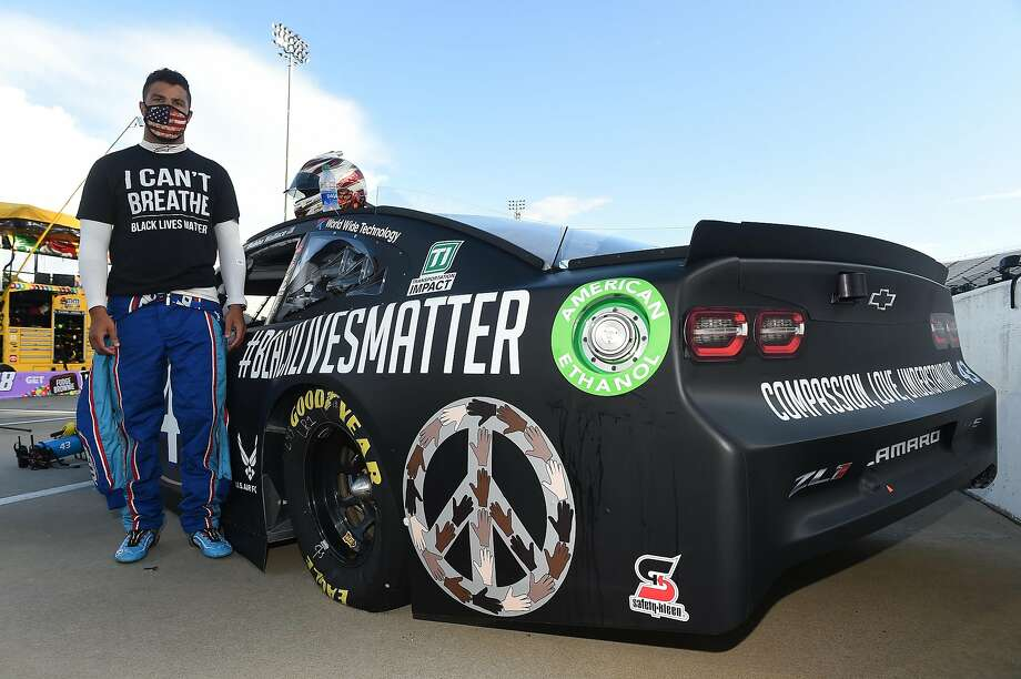 With fewer sponsor stickers on his car than other drivers have, Bubba Wallace had room to add a #Black Lives Matter design for Wednesday's NASCAR Cup race in Martinsville, Va. Photo: Jared C. Tilton / Getty Images