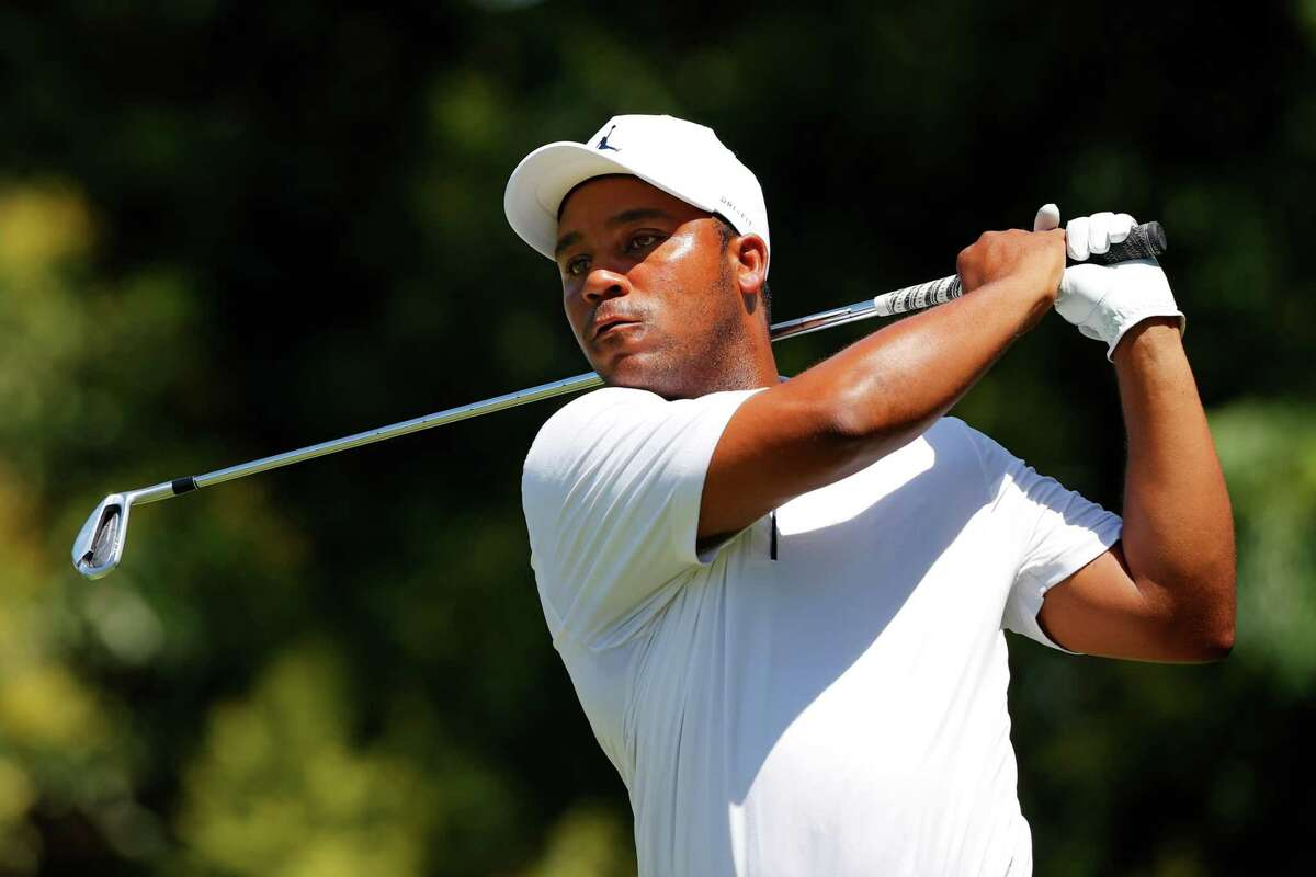 FORT WORTH, TEXAS - JUNE 12: Harold Varner III of the United States plays his shot from the ninth tee during the second round of the Charles Schwab Challenge on June 12, 2020 at Colonial Country Club in Fort Worth, Texas. (Photo by Ronald Martinez/Getty Images)