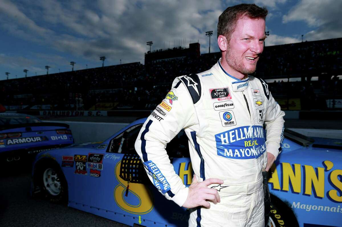 DARLINGTON, SOUTH CAROLINA - AUGUST 31: Dale Earnhardt Jr., driver of the #8 Hellmann's Chevrolet, stands next to his car after the NASCAR Xfinity Series Sport Clips Haircuts VFW 200 at Darlington Raceway on August 31, 2019 in Darlington, South Carolina. (Photo by Sean Gardner/Getty Images)