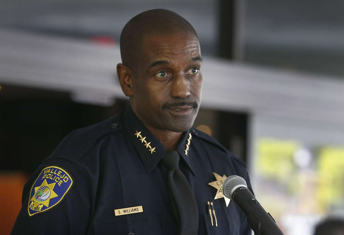 Police Chief Shawny Williams appears at a news conference in Vallejo, Calif. on Wednesday, June 3, 2020 to discuss the officer involved shooting death of Sean Monterrosa. Monterrosa died from gunshot wounds during an encounter with police outside a Walgreens in Vallejo Monday night.