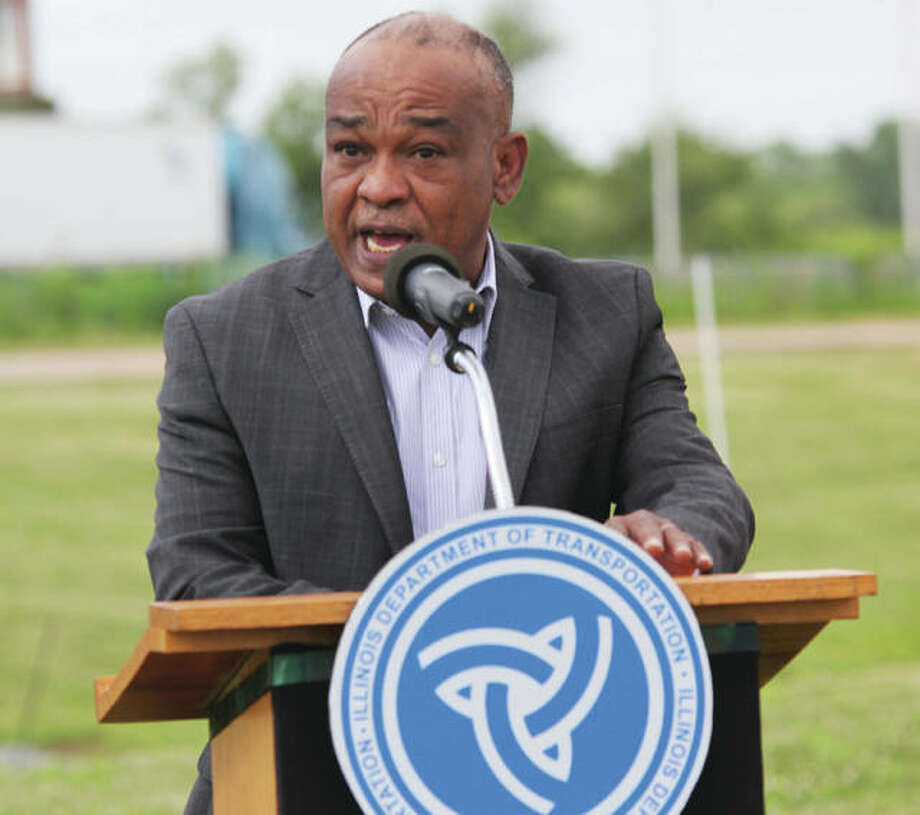 Acting Illinois Department of Transportation Secretary Omer Osman talks during a press conference Wednesday in Sauget regarding work on the Interstate 255 rehabilitation project. On Saturday work on the northern portion of the project will be completed and will shift to the southern portion. He also talked about the effect of the COVID-19 pandemic on motor fuel tax revenues, which are a large part of the Rebuild Illinois capital improvement plan. Photo: Scott Cousins | Hearst Illinois