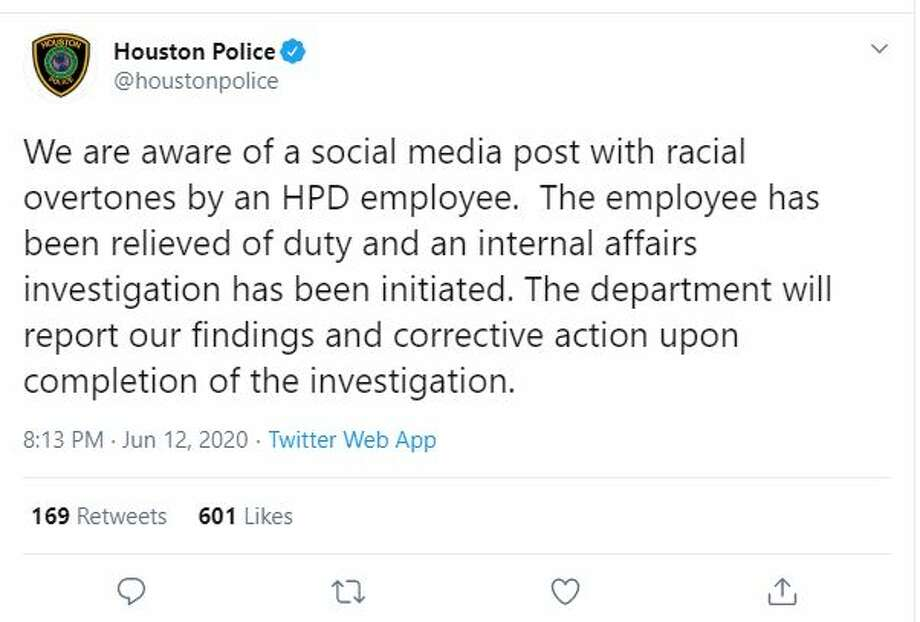"""The Houston Police Department says one of its employees has been relieved of duty after the officer posted a """"social media post with racial overtones."""" Photo: Houston Police/Twitter"""