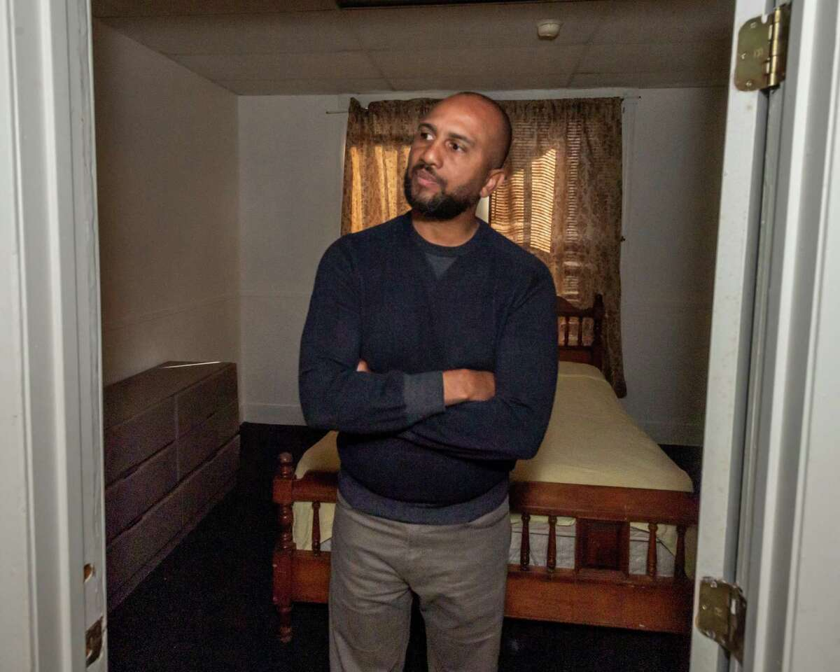 Captain Jason Moore of the Salvation Army stands in one of the bedrooms of a building in the 1000 block of McFaddin Avenue as city leaders discuss making it into a homeless shelter in conjunction with the Salvation Army. Photo made Thursday, December 26, 2019. Fran Ruchalski/The Enterprise