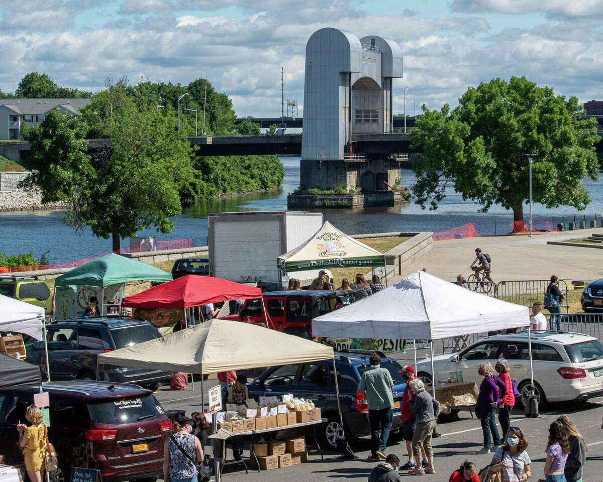The Troy Waterfront Farmers Market returned to Riverfront Park on Saturday, June 13, 2020 with 43 vendors. Last month, the market opened for the season in a Russell Sage College parking lot with 25 vendors (Jim Franco/Special to the Times Union.)