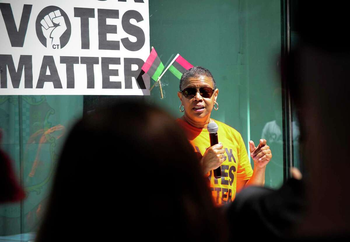 Jere Eaton speaks to hundreds gathered in front of the Stamford Government Center to hold a Black Votes Matter Rally on June 13, 2020 in Stamford, Connecticut.