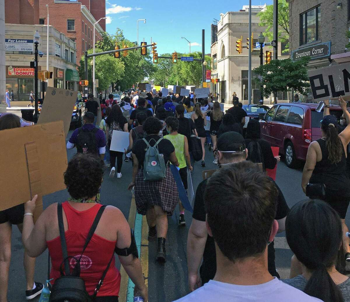 Family of Mubarak Soulemane and community members gathered at the McLevy Green in downtown Bridgeport, Conn., around 2 p.m. Satruday, June 13, 2020, and then marched to Bridgeport police headquarters at 300 Congress St.