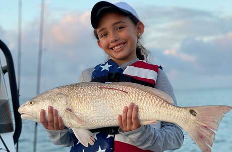 Marilyn Monroe, 8, caught the second tagged redfish of the 2020 CCA Texas STAR Tournament.