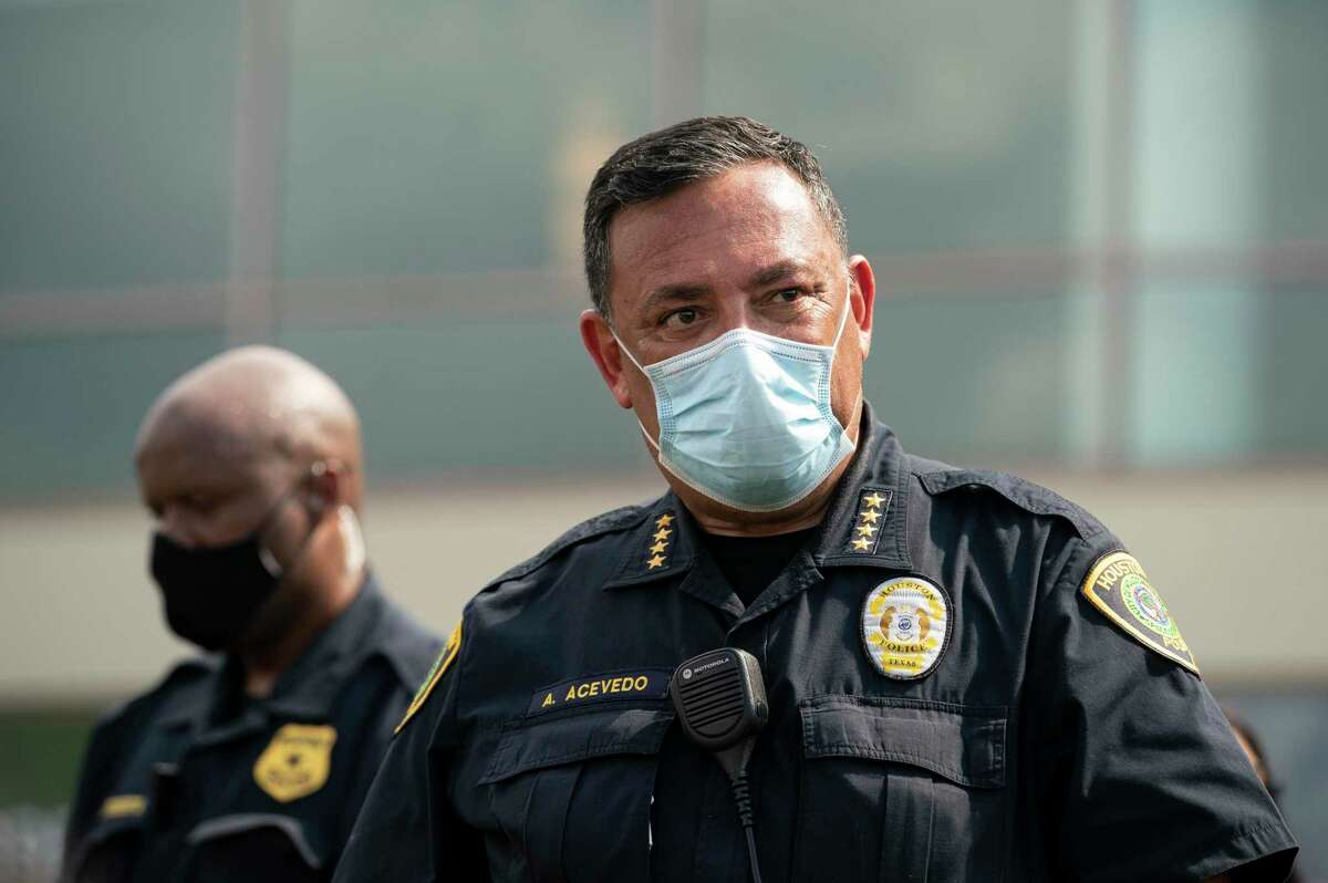 Houston Police Chief Art Acevedo watches a press conference by George Floyd's family and their attorney Monday, June 8, 2020, at The Fountain of Praise Church in Houston.