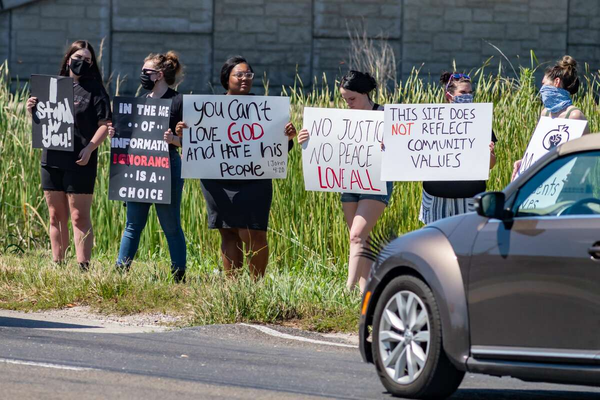 About 40 protestors came out to Orange on Saturday morning to protest the existence of The Confederate Memorial of the Wind at I-10 and Martin Luther King Junior Drive. Photo made on June 13, 2020. Fran Ruchalski/The Enterprise