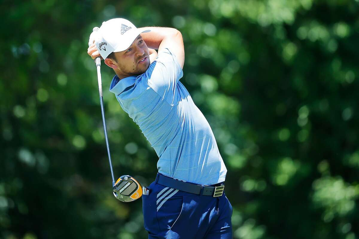 FORT WORTH, TEXAS - JUNE 13: Xander Schauffele of the United States plays his shot from the ninth tee during the third round of the Charles Schwab Challenge on June 13, 2020 at Colonial Country Club in Fort Worth, Texas. (Photo by Ron Jenkins/Getty Images)