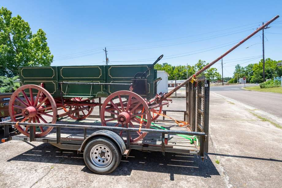 The Silsbee Ice House Museum received a 1903 ice wagon for its collection on Saturday, but it was just a bit too wide to get through the double doors of the museum. Photo made on June 13, 2020. Fran Ruchalski/The Enterprise Photo: Fran Ruchalski/The Enterprise / ? 2020 The Beaumont Enterprise