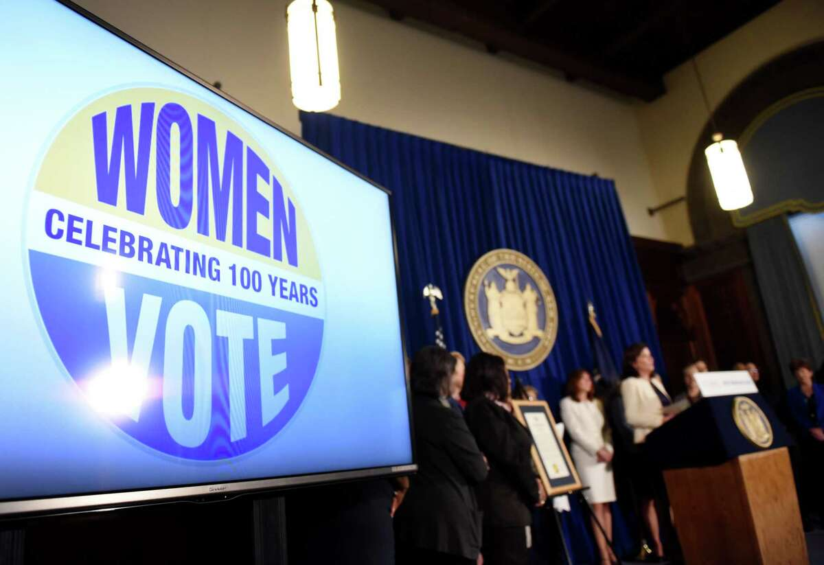 Lt. Gov. Kathy Hochul held a press conference to celebrate the start of Women's History Month on Monday, March 2, 2020, at the Capitol in Albany, N.Y. A series of celebratory events throughout March are planned to commemorate the 100th anniversary of women's suffrage. (Will Waldron/Times Union)