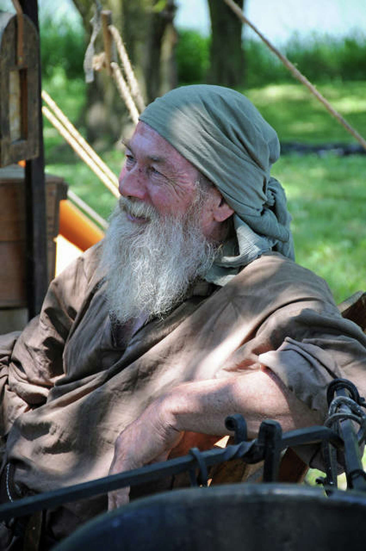 Re-enactor Gary Hamilton, of Gillespie, took part in the Spring Rendezvous in Wood River Saturday.