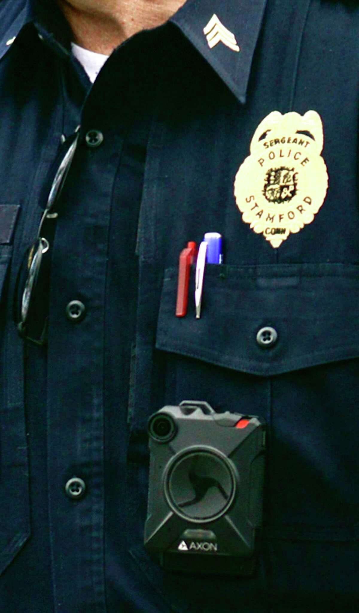 A Stamford Police Department sergeant wears a body camera.