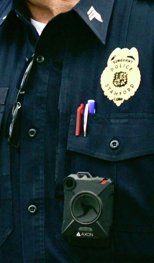 A Stamford Police Department sergeant wears a body camera. Photo: Matthew Brown / Hearst Connecticut Media / Stamford Advocate