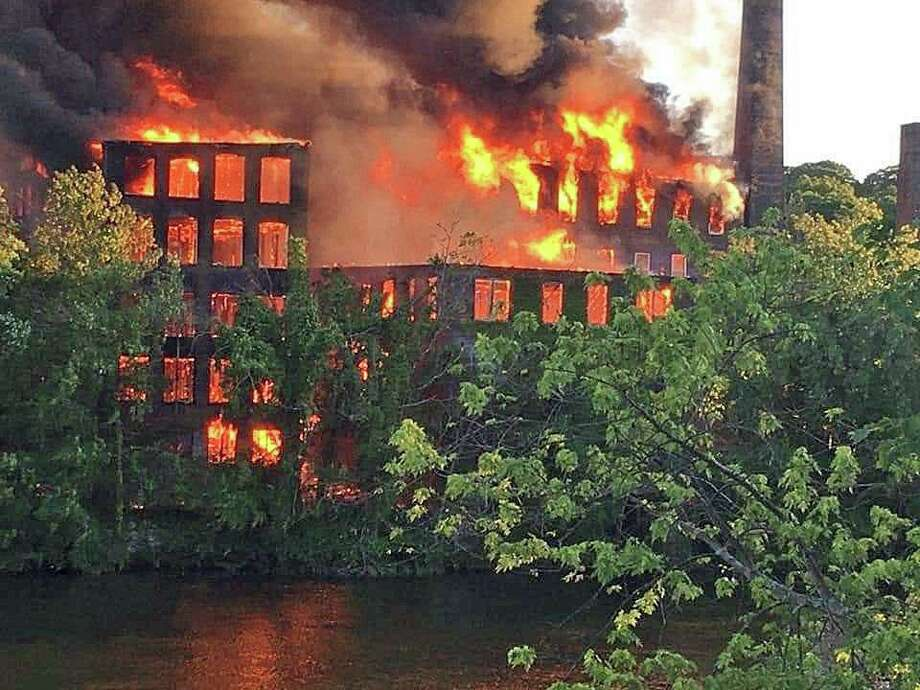 A massive fire tore through the the former Star Pin Co. in downtown Shelton on Saturday, June 13, 2020. Officials are investigating the cause of the fire in the vacant 19th-century buillding. Photo: Shelton Fire Department Photo